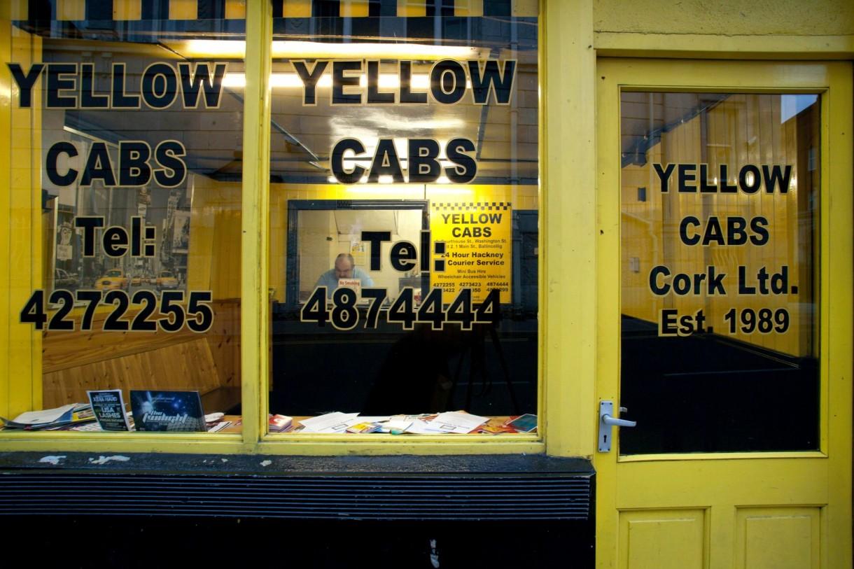Shop Facade of Yellow Cabs Taxi Cork